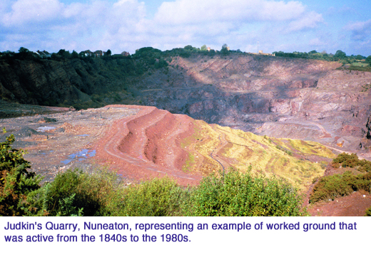 Judkins Quarry Nuneaton representing an example of Worked Ground that was active from the 1840s to the 1980s.  copy