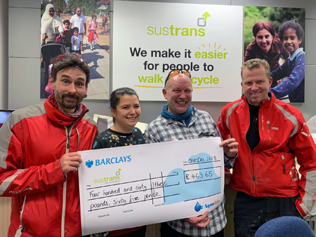 aquabio Cheque Handover to Sustrans