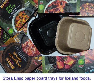 stora enso Iceland Foods paper board trays